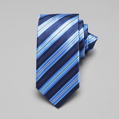 Satin Multi Stripe Tie - Blue